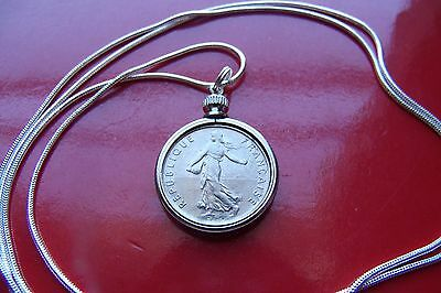 "French Half Franc Coin Pendant on an 18"" .925 Sterling Silver Round Chain"