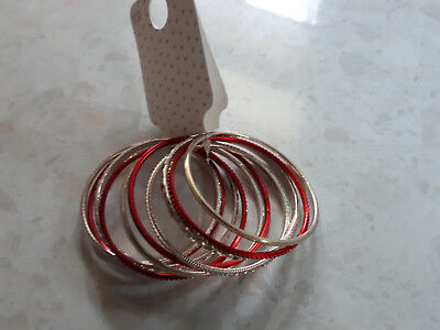 Girls Red/Silver Sparkly Bangles. Suit age 3-6 years approx.