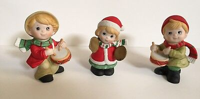 Vintage Set of 3 Homco Christmas Decoration Figurines Musical Instruments Band