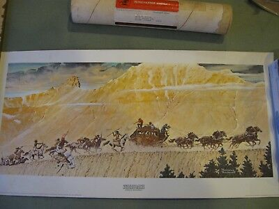 "Vintage 1966 WINCHESTER Norman Rockwell ""Stagecoach"" reprint OG mailing tube"