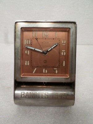 Le Coultre Copper Dial Travel Clock--Signed Bandits 1945