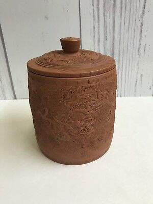 "Early 5"" By 4.5"" Chinese Redware Pottery Bisquit Jar W/dragons"
