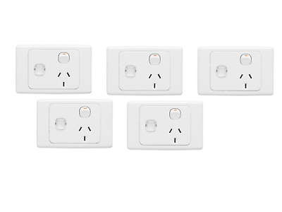 Clipsal 2015Xpid 5-Pack Single Combination Power Outlet Wall Socket 10A/240V