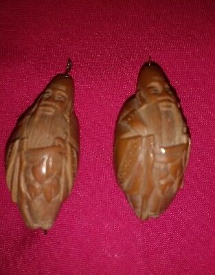 Two Oriental Minature Wisemen Wood Nut Shell Carvings Chinese Japanese
