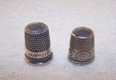 Nice 2 pc. Estate Lot - Antique Sterling Silver Thimbles - Simons Brothers - NR