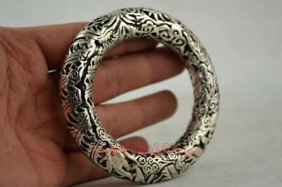 Superb Handwork Tibet Silver Carving Dragon & Phoenix Noble Bracelet lj251