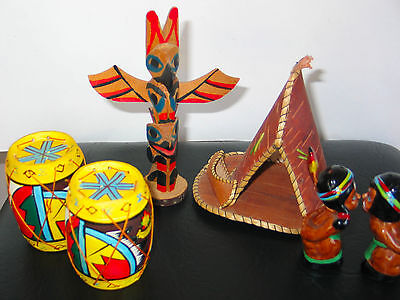 Salt & Pepper Shakers Drums, Tee Pee, Couple Kissing 4 pc Lot