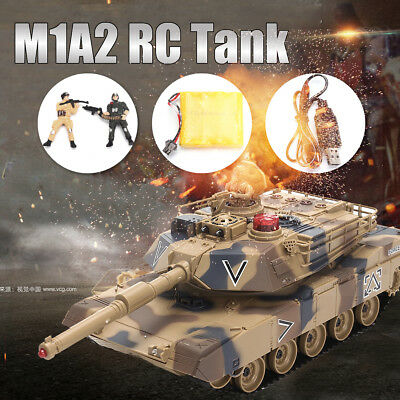 "2 4G Yellow RC Tank M1A2 Airsoft Tank Toy 16"" Military Battle Vechile with Sound"