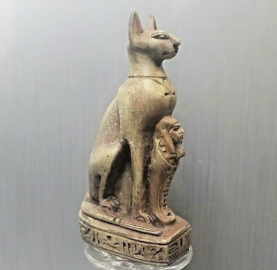 Rare  Antique Ancient Egyptian  Cat Bastet  with Ushabti 1500-1000 BC)