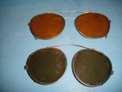 Vintage Aviator Gray Green Lens Gold Colored Clip On Sunglasses Attachment Lot