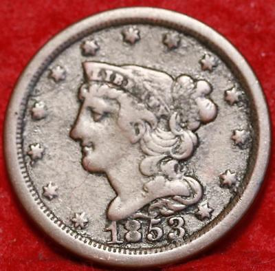 1853 Philadelphia Mint Copper Braided Hair Half Cent Free Shipping