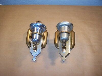 Vintage Art Deco Theater Brass and Stell Wall Fixtures