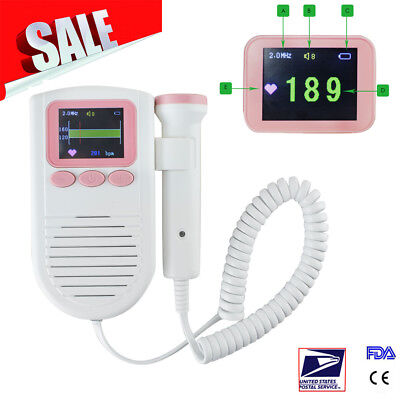 Fetal Doppler 3MHz Probe, Baby Heart Monitor, Backlight Big Color Screen USA+