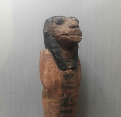 Rare  Antique Ancient Egyptian  Wood Ushabti  as form Sekhmet 1500-1000 BC)