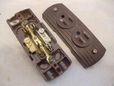 Vintage Leviton Surface Mount Brown Bakelite Outlet 5238 Receptacle w/ Ground
