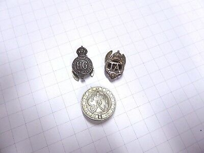 Ww11 British Loyal Service, H.g , Territorial Army Lapel Badges 3 Types