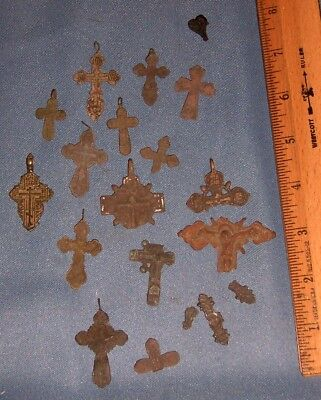 Lot of ANTIQUE DUG UP ANCIENT MEDEVIL CHRISTIANITY RELIGIOUS CROSS 's relics