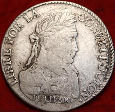 1831 Bolivia 8 Soles Silver Foreign Coin Free S/H