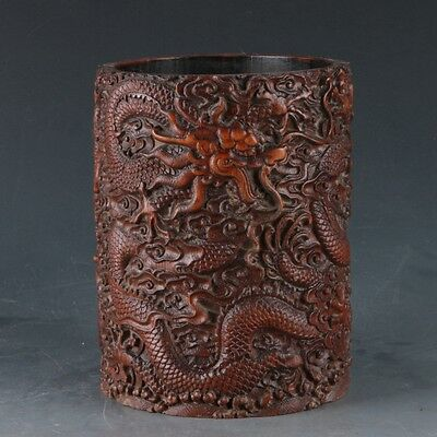 Chinese Bamboo Pole Hand Carved Dragon Brush Pot