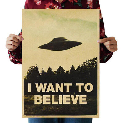 "2017 Vintage Classic Poster ""I Want To Believe"" Wall Stickers Home Decor Gift"