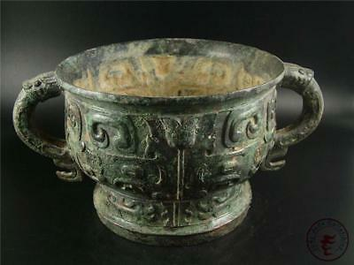 Very Large Old Chinese Bronze Made Vase Statue Pot Collectibles Two Ears at Side