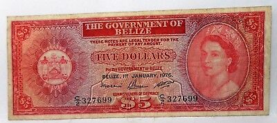 The Government Of Belize 1976 QII FIVE DOLLAR Pick#35.b Circulated Note
