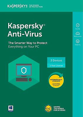 Kaspersky Anti-Virus 2018 - 3 Devices/1 Year [Key Card] new in box, sealed