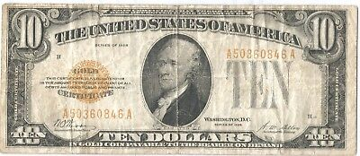 1928 $10 Gold Certificate VG-F Condition