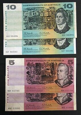 1967 Commonwealth of Australia 2x $5 2x $10 Banknotes Coombs/Randall