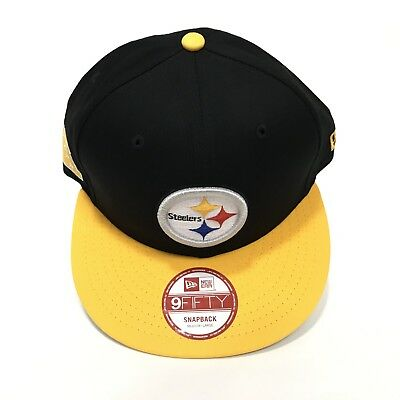 New Era Pittsburgh Steelers 9Fifty Baycik Patch Snapback Hat Cap Black  Yellow 540372597
