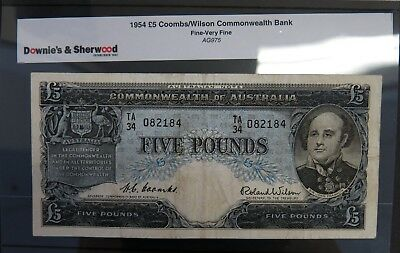 1954 Commonwealth of Australia 5 Pounds Banknote Coombs/Wilson. TA34 Fine