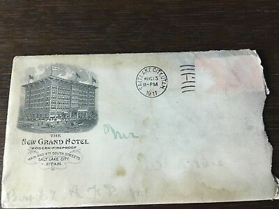 New Grand Hotel Letterhead 1911 Envelope Salt Lake City Utah Fireproof