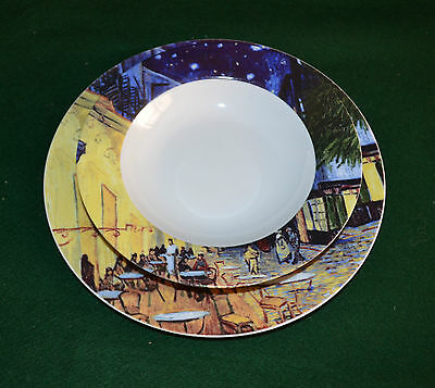 Retro Set Of Plates - Vincent Van Gogh - Cafe - Set Of Three - The Art Of Dining