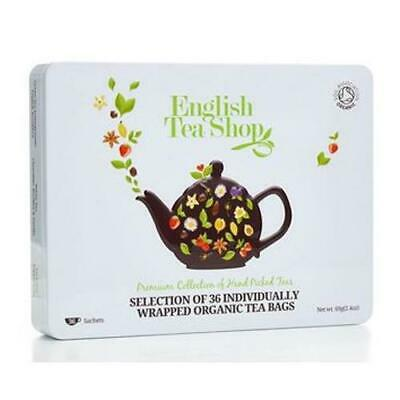 "English Tea Shop Organic Premium Collection White Tin ""36 Sachets"" Gift Pack"