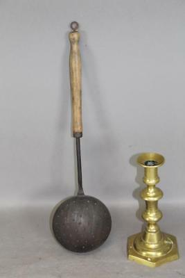 A Great Early 18Th C Wrought Iron Deep Dish Strainer With Original Wooden Handle