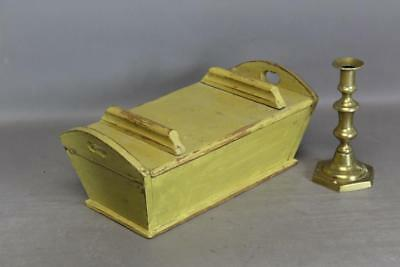 Rare 18Th C Miniature Pa Covered Dough Box In The Best Grungy Yellow Paint