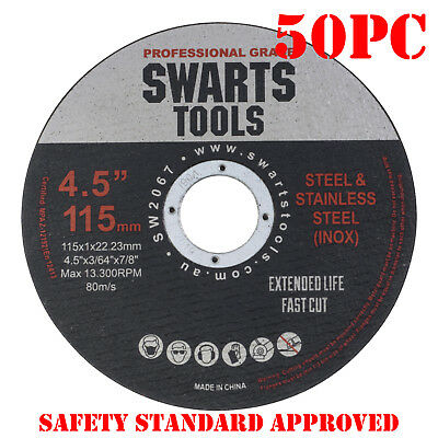 "50 x 4.5"" 115MM CUTTING DISC WHEEL THIN ANGLE GRINDER CUT OFF METAL STEEL FLAP"