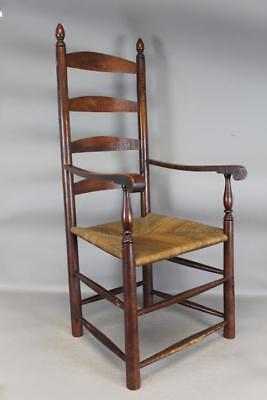 A Bold 18Th C New Jersey Four Slat Ladderback Armchair Old Surface Tiger Maple