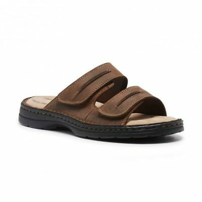 Mens Hush Puppies Slider Brown Sandals Slip On Easy To Wear Leather Summer Shoes