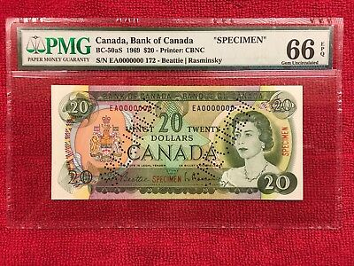Bank of Canada BC-50aS 1969 20 Dollar SPECIMEN PMG 66EPQ