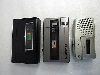 Lot Of 3 Cassette Player Recorder Dictaphone Voice Processor 2253 + 2240 + Ge 3-