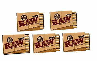 Raw Natural Unrefined Pre-Rolled Filter Tips 5 Pack 21 Per Box Papers Tobacciana