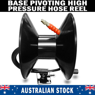 BRAND NEW High Pressure Washer Base Pivoting Black Steel Hose Reel 3/8″ x 50M
