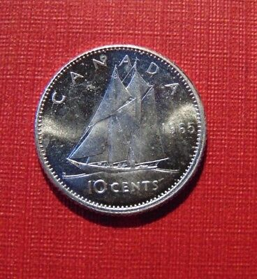 CANADA 1965 ten 10 cents silver dime coin BU