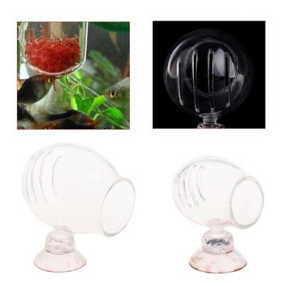 Glass Feeding Cup Fish Red Brine Feeder Shrimp Eggs Worms Food For Aquarium