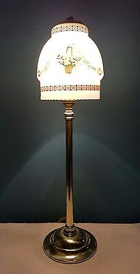 Antique C1920 Edwardian Brass Elegant Table Lamp. Fully Rewired & PAT Tested