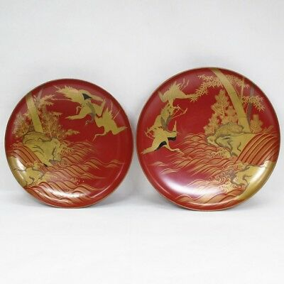 D936: Real old Japanese lacquerware pair of SAKE cup with very good MAKIE