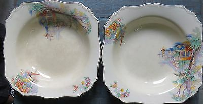 Antique POTTERY signed J & G MEAKIN ENGLAND SUNSHINE  2 KITCHEN SQUARE DISHES