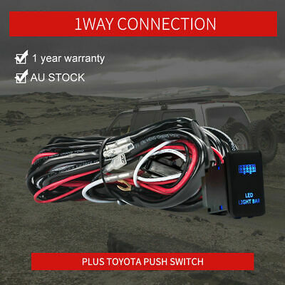 30A Wiring Loom Harness Relay Fuse Kit with Toyota Push Switch For LED Light Bar