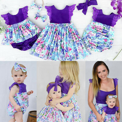 Newborn Baby Girl Sister Matching Floral Clothes Jumpsuit Romper Dress Outfits I
